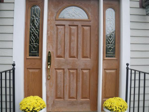 fiberglass door with faded finish
