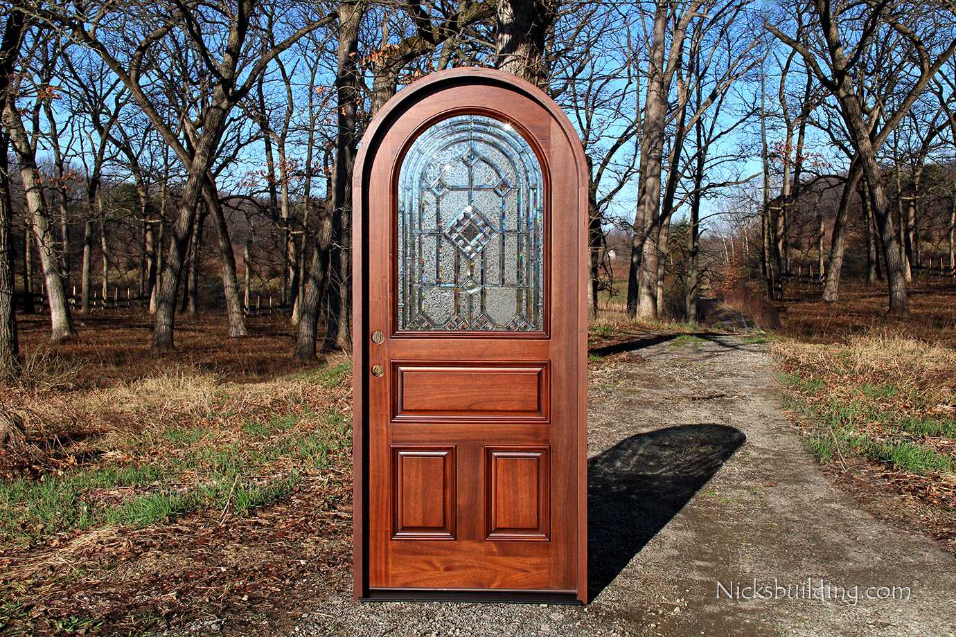 920 #2578A6 Panel Round Top Mahogany Wood Entry Door With Glass picture/photo Arched Doors With Glass 42191380