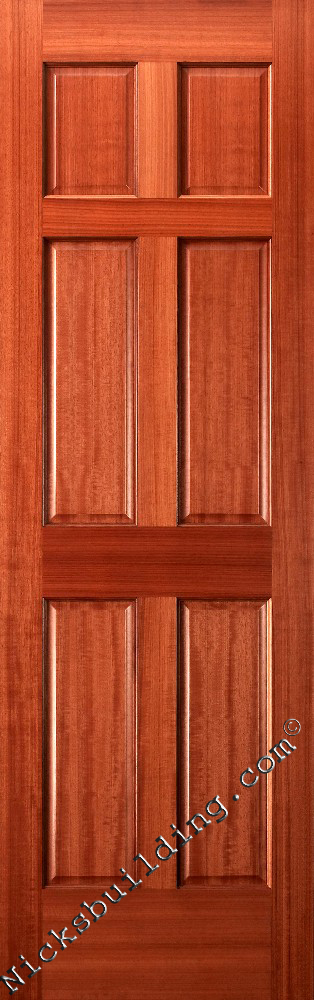 Interior doors wood solid mahogany 6 panel doors for Mahogany interior doors