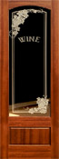 801 mahogany etched glass door Wine
