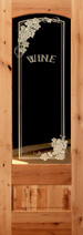 801 knotty alder etched glass wine room door