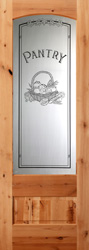 "knotty alder 8'0"" interior etched glass Pantry Doors"