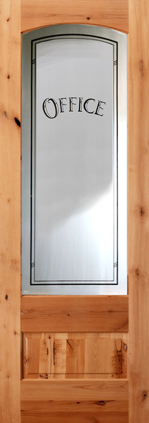 801 Knotty Alder Etched Gl Office Door