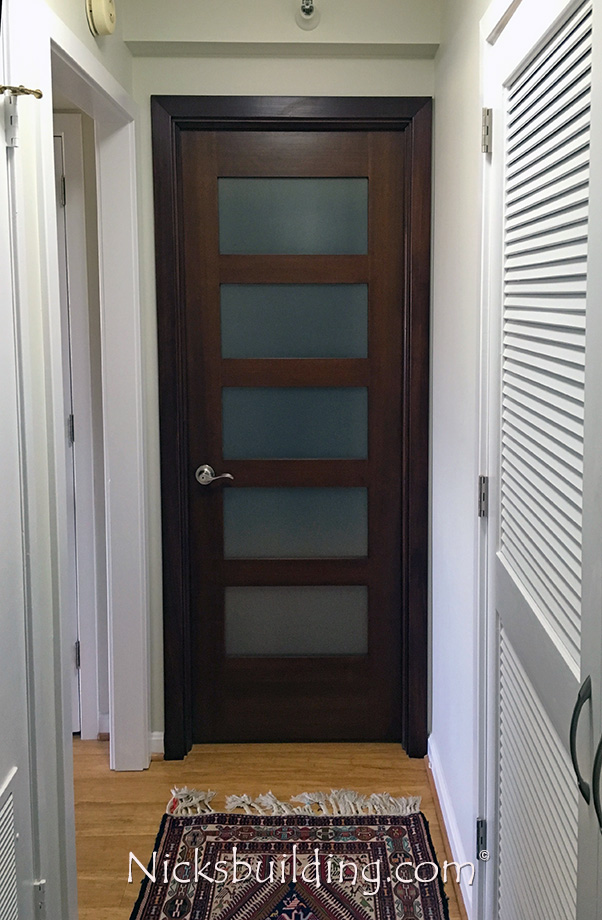 ... Mahogany Interior Shaker Door Frosted Glass NY Condo Replacement