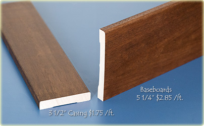 Modern Flat Casing and Baseboards in Solid Mahogany