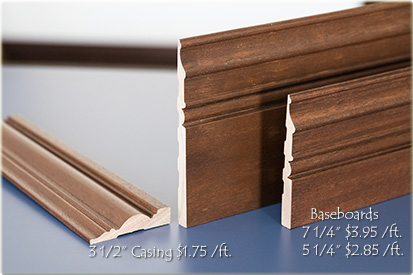 solid mahogany interior casing and baseboards
