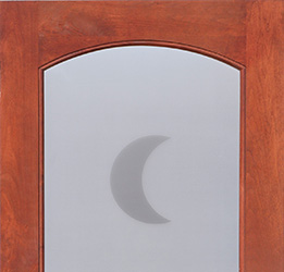etched glass interior doors with half moon crescent theme
