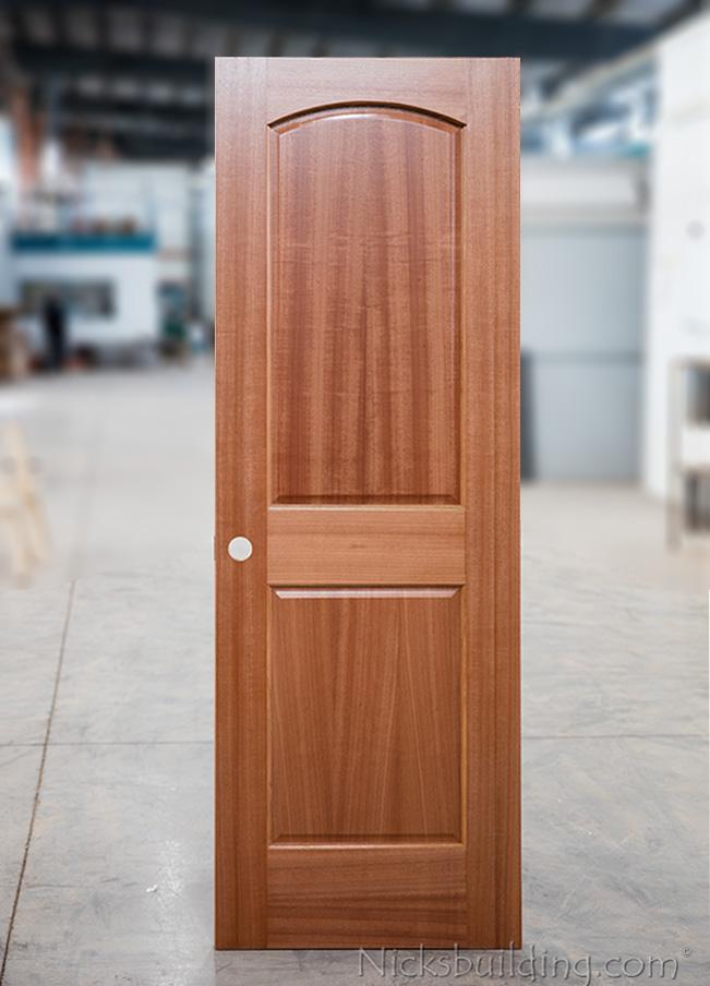 Natural Finish On 2 Panel Mahogany Doors