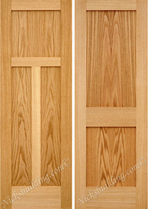 Oak 2 Panel Shaker Doors. Mission Style Flat Panels