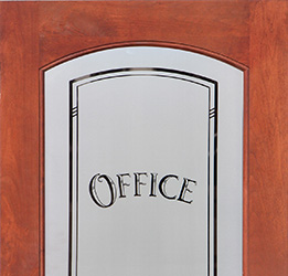 Etched Office glass interior door