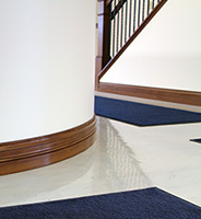 poplar baseboard with curved installation