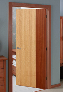 Modern Interior Door With Oak And Mahogany