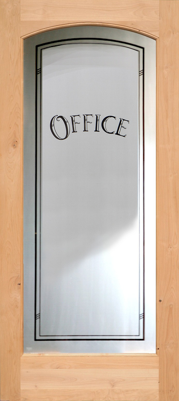 ... 801 Etched Glass Full Lite Interior Arched Office Door ...
