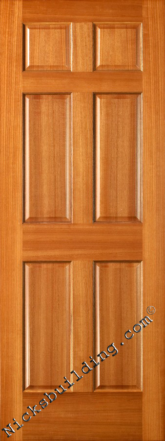Interior doors wood solid mahogany 6 panel doors for Solid wood panel interior doors