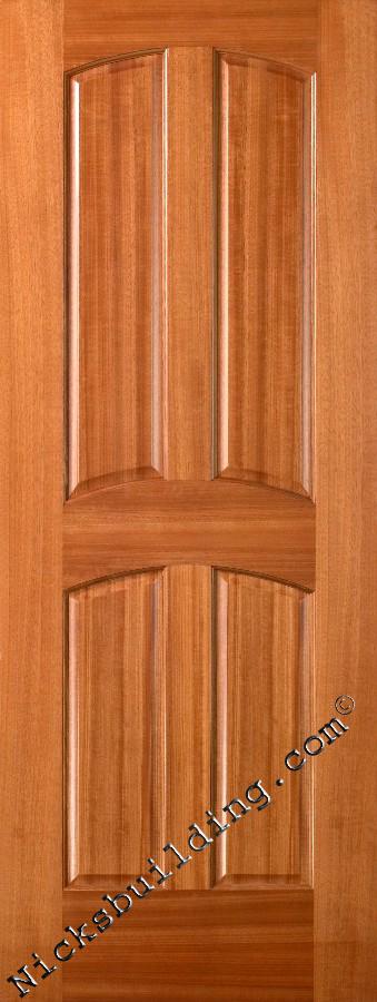 Solid Wood Interior Doors Mahogany 4 Panel Design