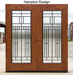 iron double doors with full lite glass