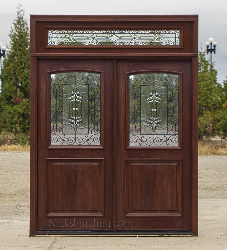 Exterior Double Doors Solid Mahogany Wood