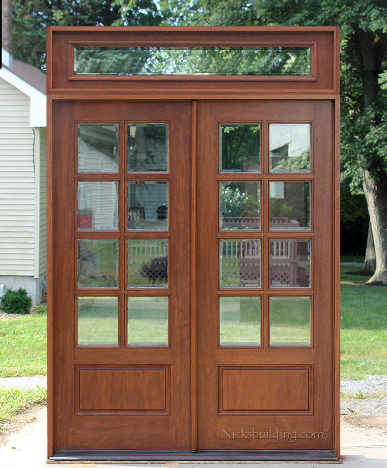 8 Lite Exterior Double Doors With Square Transom