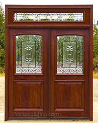 exterior double doors with rectangular transoms
