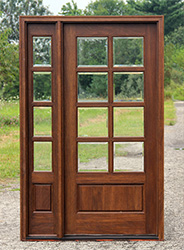 8 Lite Wood Door With 4 Lite Sidelite Clear Beveled And Insulated Glass