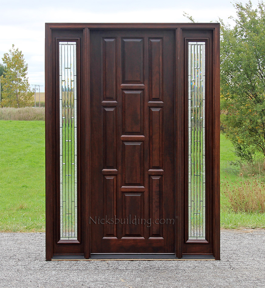 10 panel exterior mahogany doors with sidelights for Entry doors with sidelights