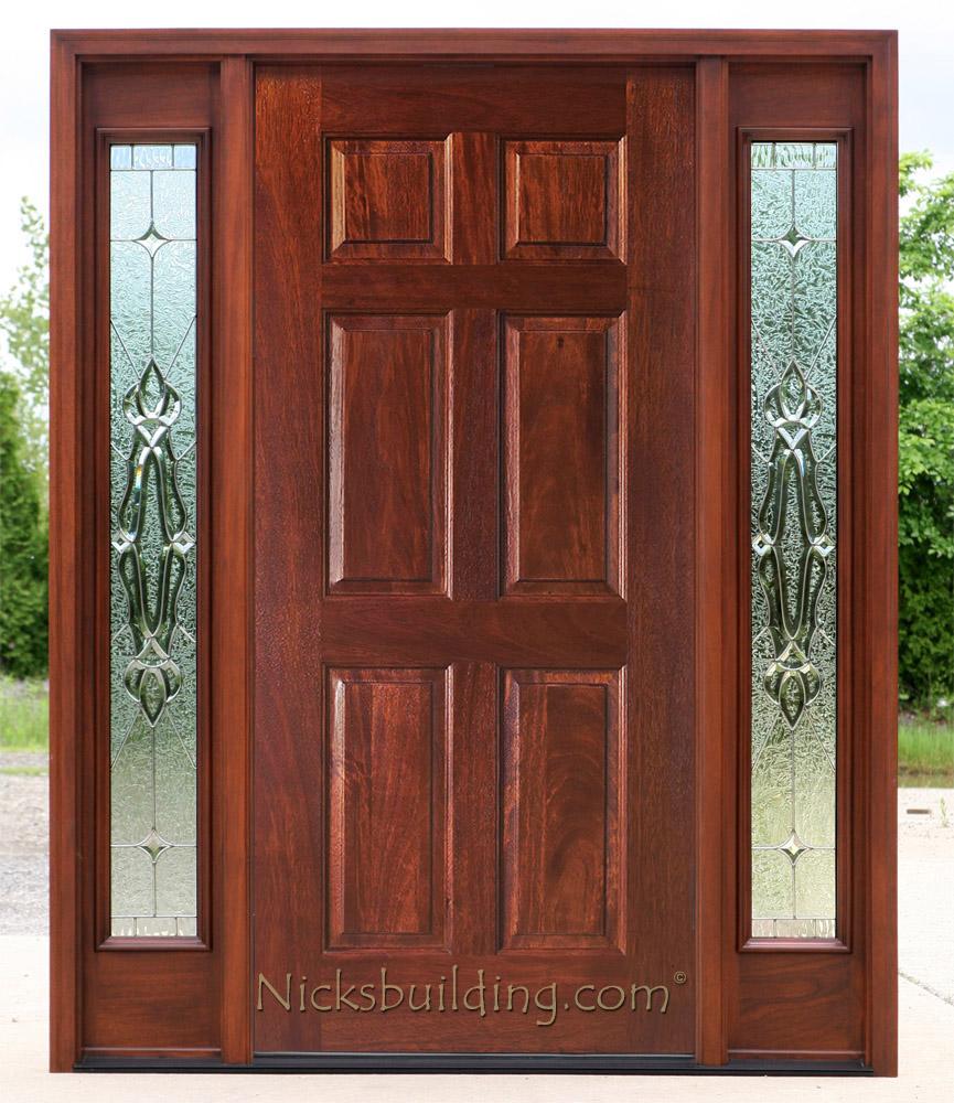 Exterior doors with sidelights solid mahogany entry doors for 6 panel glass exterior door