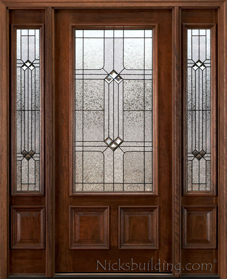 Mahogany Exterior Door With Sidelights N 200 Bdr Patina 6 39 8