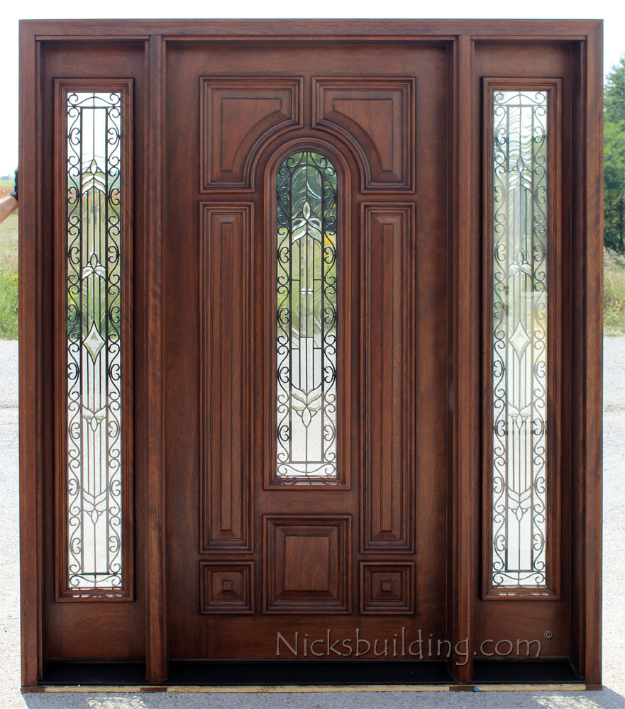 Exterior doors with sidelights solid mahogany entry doors for Front door and sidelights