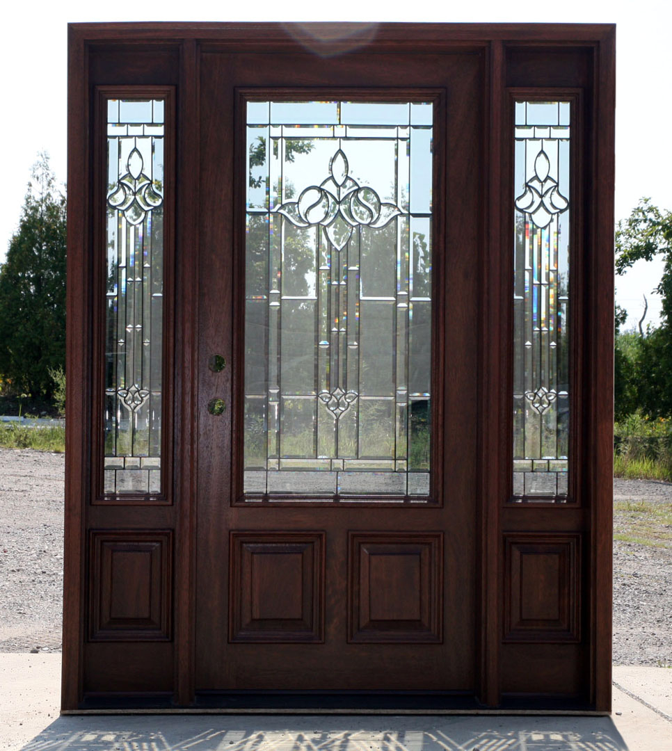 Mahogany exterior door with sidelights n 200 mystic 6 39 8 ebay for Exterior doors with glass
