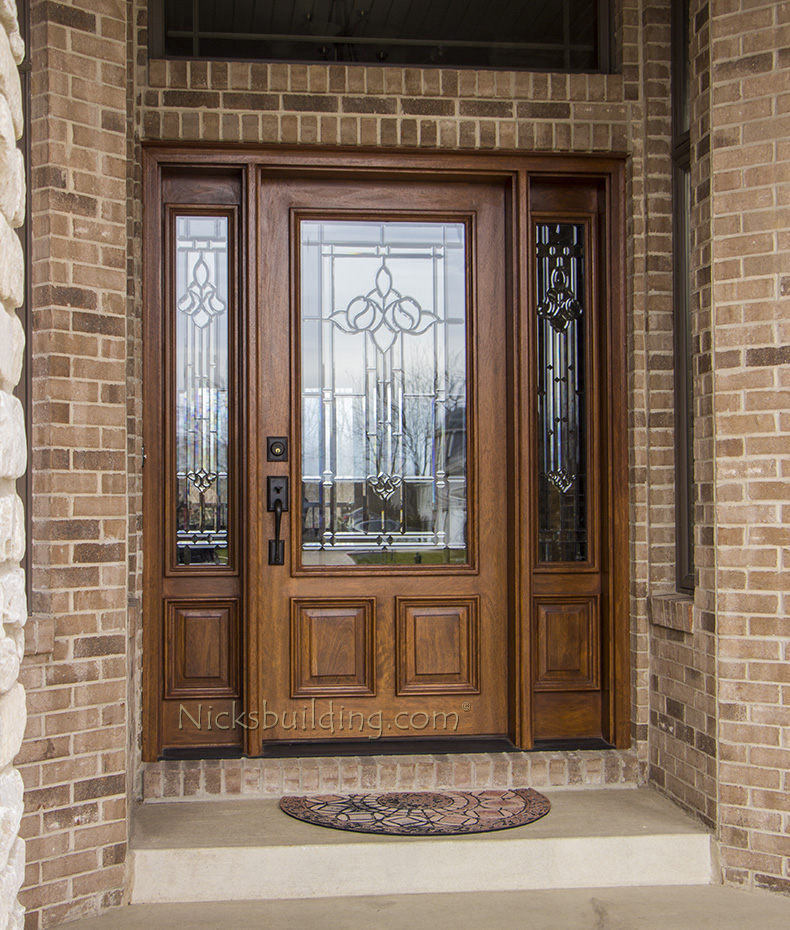 Exterior doors with sidelights solid mahogany entry doors for Exterior front entry wood doors with glass
