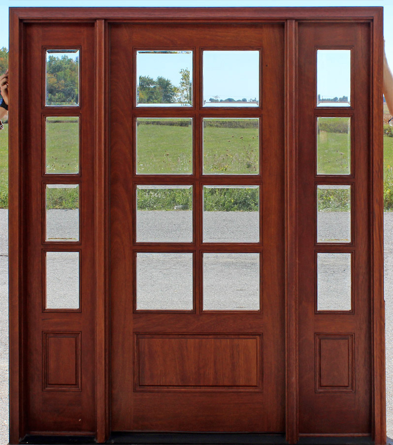 8 lite exterior door and sidelights with clear beveled glass for Mahogany entry doors
