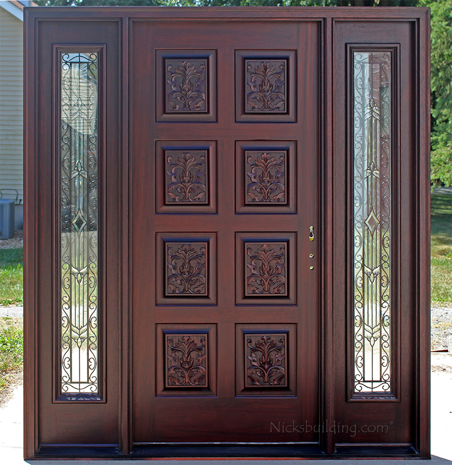 Exterior Hand Carved Doors With Wrought Iron Sidelights