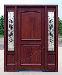 Sierra Glass Zinc Came, Mahogany 2 Panel Exterior Door With Sidelites