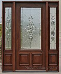 N-200 Door u0026 N-75 Sidelights Sierra Glass Zinc Came & Exterior Doors with Sidelights - Solid Mahogany Entry Doors