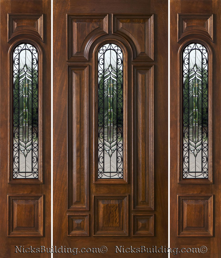 Exterior doors with sidelights solid mahogany entry doors for Exterior side entry doors