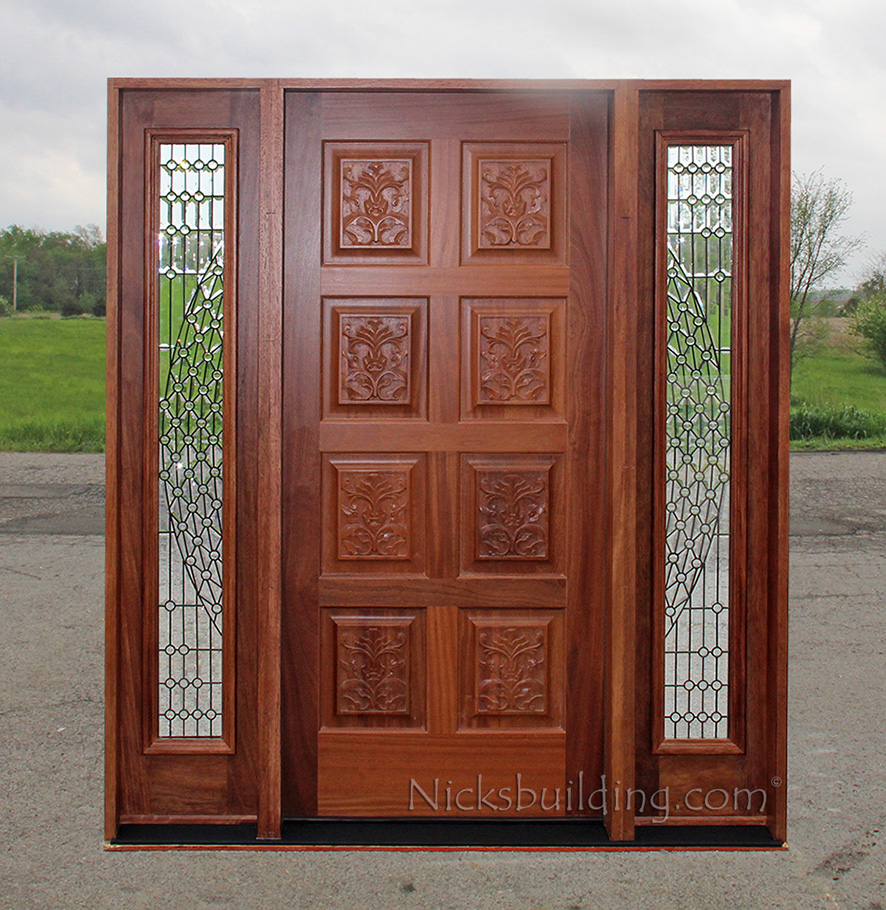 Exterior doors with sidelights solid mahogany entry doors for Mahogany exterior door