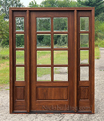 5, 8 Lite Exterior Door And Sidelights With Clear Beveled Glass