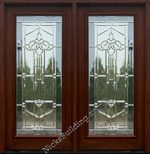 Exterior double doors solid mahogany wood double doors for Double glass french doors