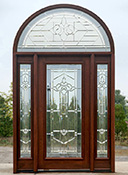 solid mahogany doors with half-round transoms