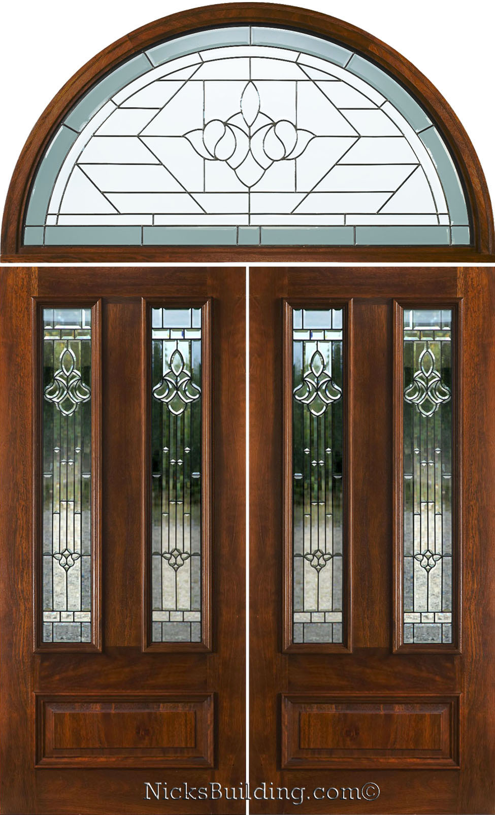 Double doors with arched transoms half round transom for Exterior double doors