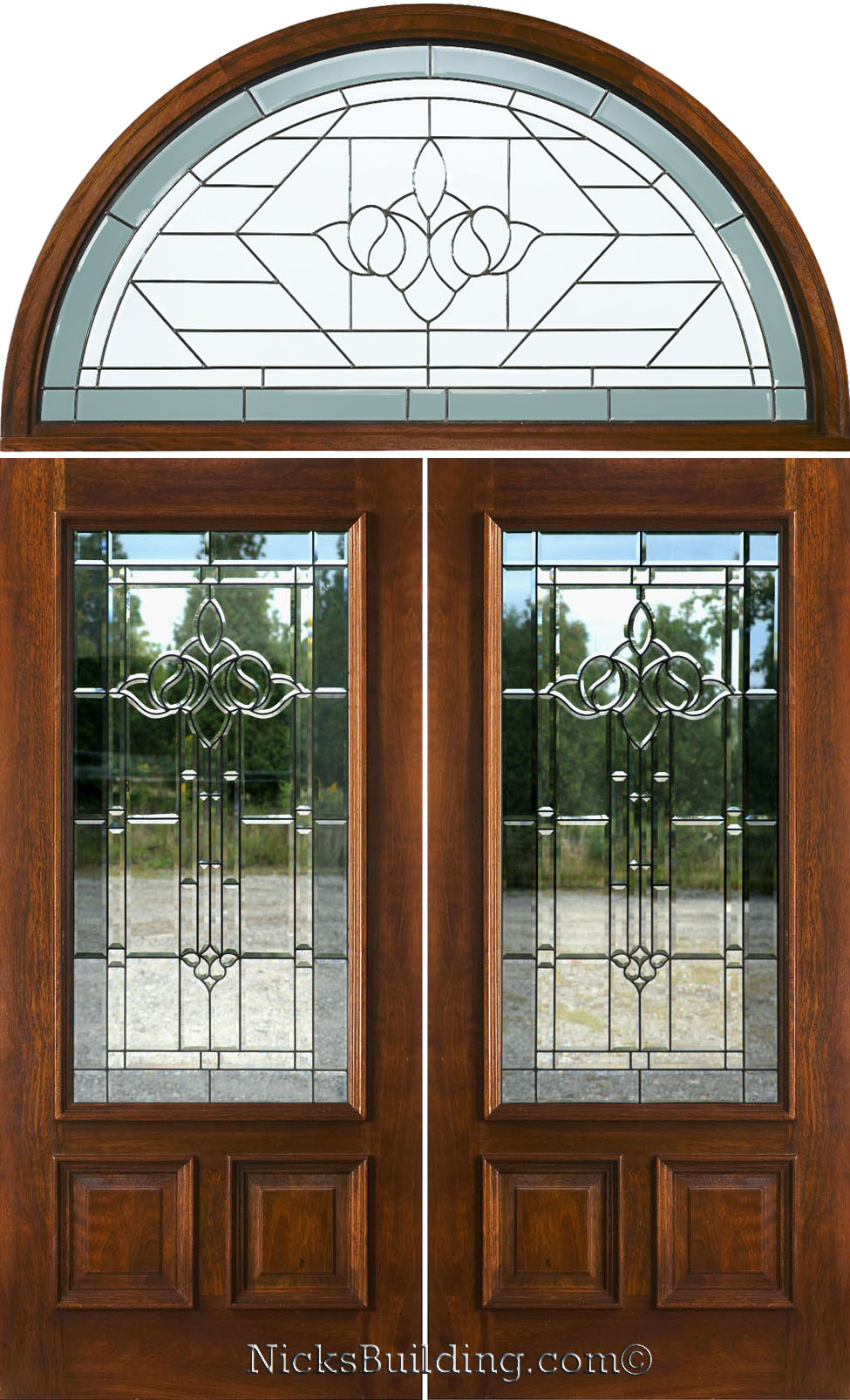 Entry doors with rectangular transoms 6 8 quot prehung - N 200 Double Doors With Transom Majestic Glass Patina Came