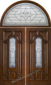 solid mahogany double doors with half-round transoms