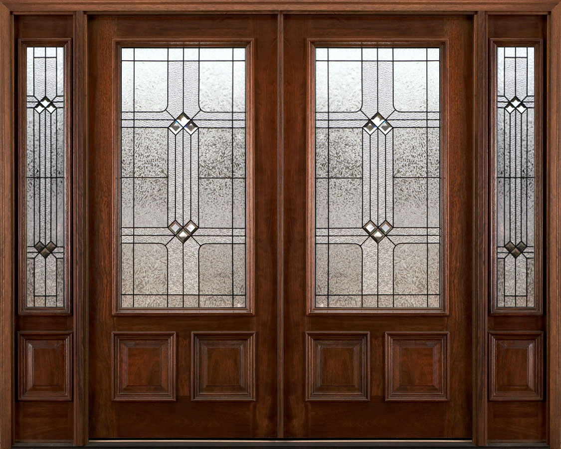 Exterior double doors with sidelights solid mahogany doors for Double steel entry doors