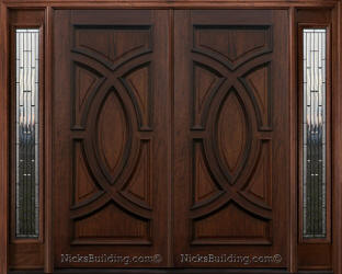 Exterior Double Doors exterior double doors with sidelights - solid mahogany doors