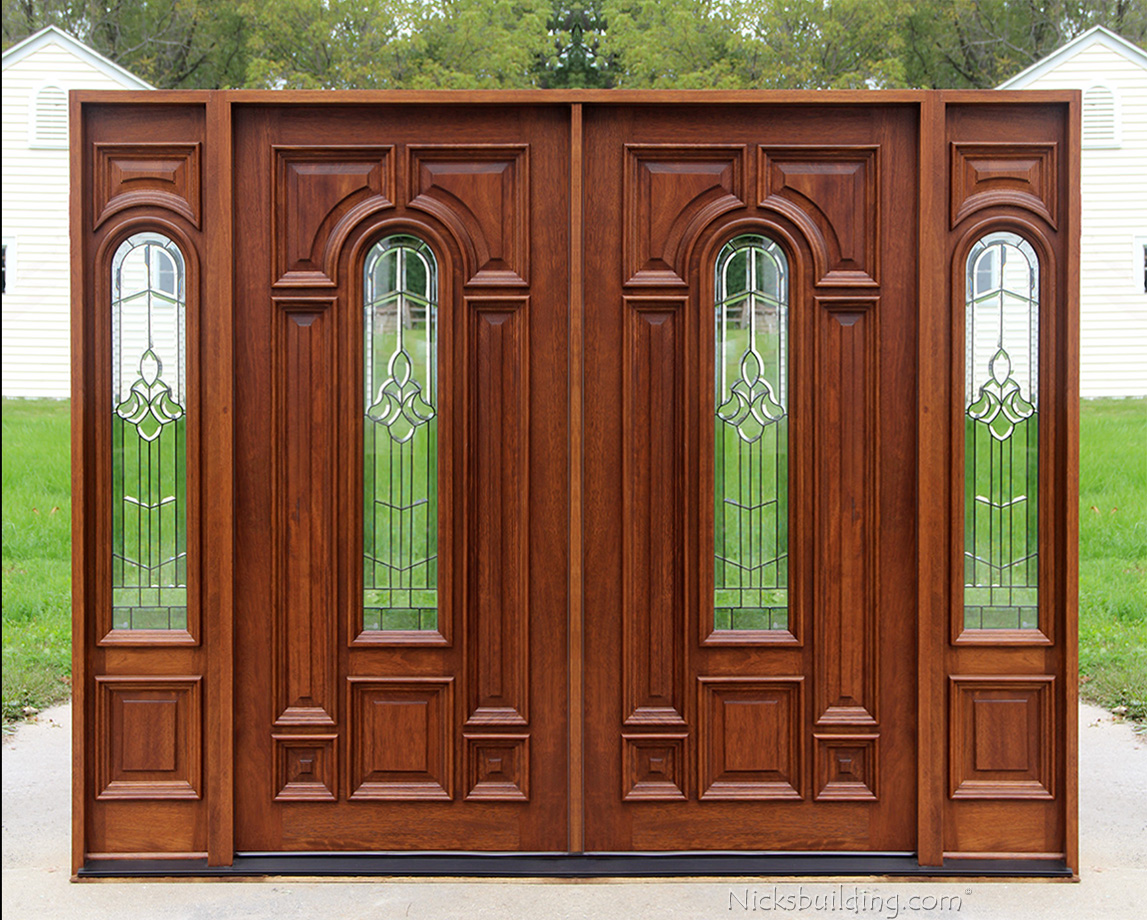 Exterior double doors with sidelights solid mahogany doors for Entry doors with sidelights