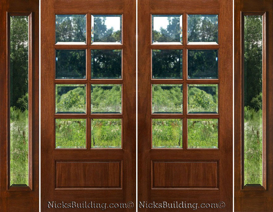 Exterior double doors with sidelights solid mahogany doors for Small exterior french doors