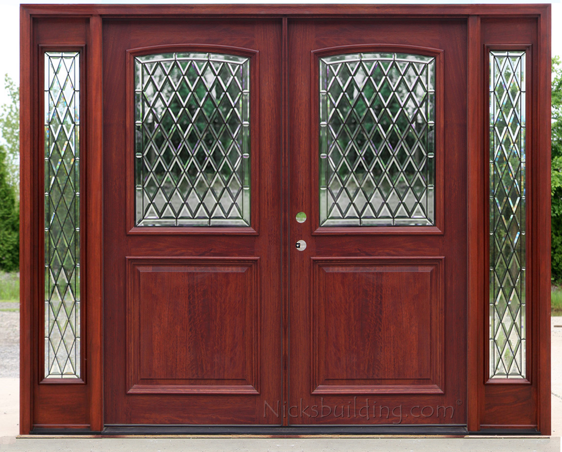 Exterior double doors with sidelights solid mahogany doors for Mahogany entry doors