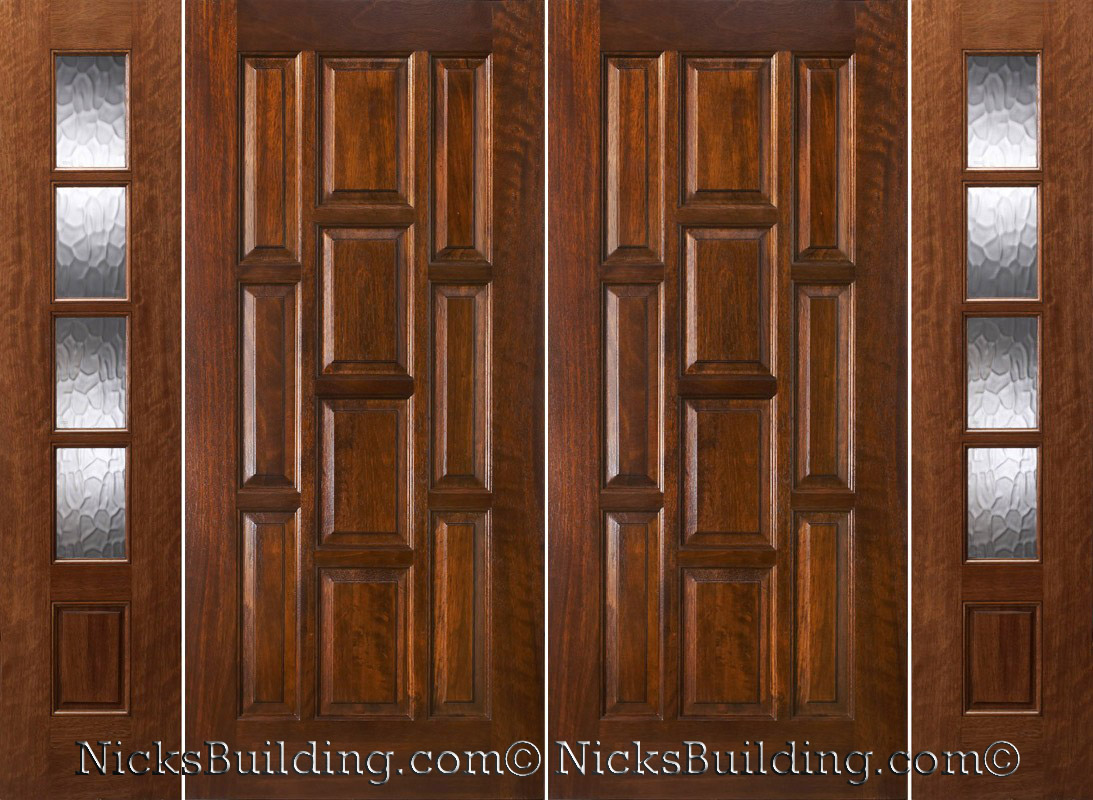 Exterior double doors with sidelights solid mahogany doors for Entrance double doors residential