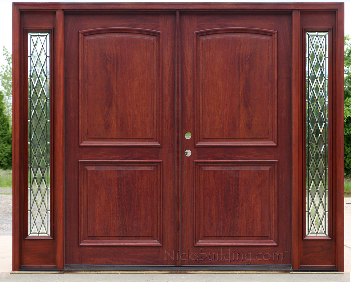Exterior double doors with sidelights solid mahogany doors for Exterior front entry double doors