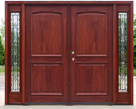 Solid Mahogany Exterior Double Doors With Arched Panels And Iron Classic  Glass Sidelites
